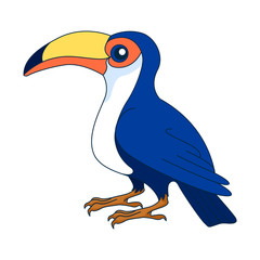 Toucan. Figure stylized cartoon style. Isolated background. Vector © elfhame