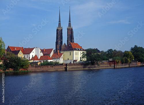 Wroclaw, Poland - October, 2006: view to Ostrow island (Ostrow Tumski)