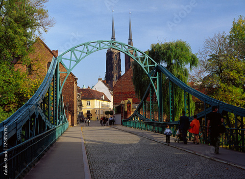 Wroclaw, Poland - October, 2006: Ostrow island (Ostrow Tumski), Tumski bridge and Cathedral of St. Joh