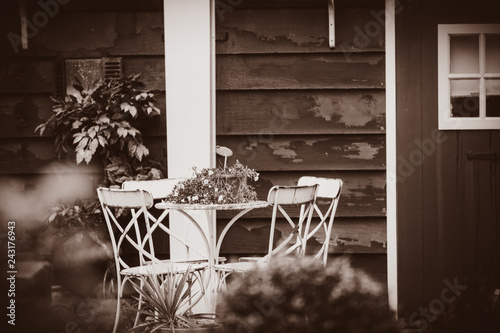 Foto Murales Little garden and table with chairs near wooden house in Holland. Netherlands . Image in sepia color style