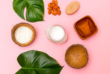 Natural soap and body organic cream on pink background. Flat lay - 243177386