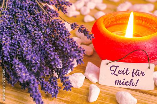 Leinwanddruck Bild Zeit für mich, Lavendel im Licht, Tafel