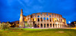 Quadro Colosseum in Rome panorama at dusk, Italy