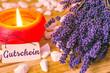 Leinwanddruck Bild - Gutschein, Wellness, Dekoration mit Lavendel