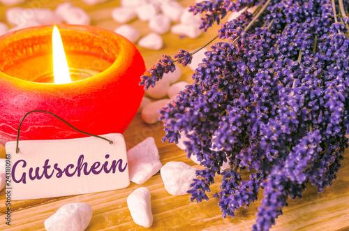 Leinwanddruck Bild Gutschein, Wellness, Dekoration mit Lavendel