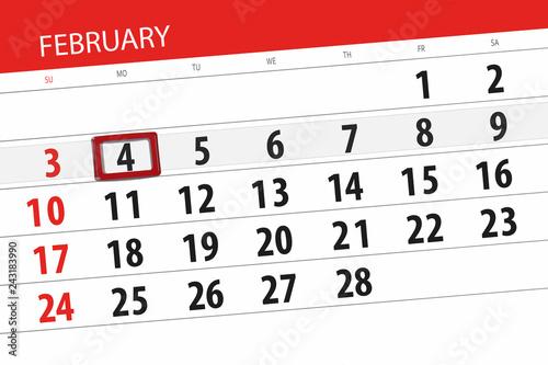 Calendar planner for the month february 2019, deadline day, 4, monday