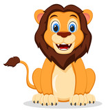 Wild lion sitting and smiling on a white. Cartoon character