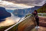 Nature photographer. Stegastein Lookout. - 243196149