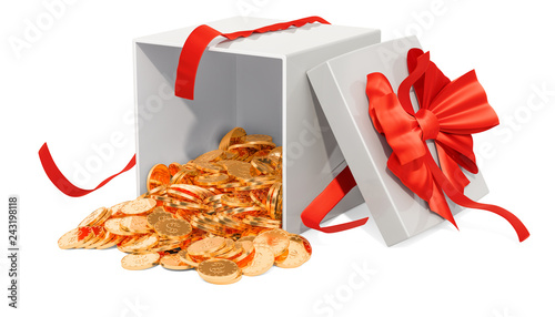 Gift box with golden coins, 3D rendering