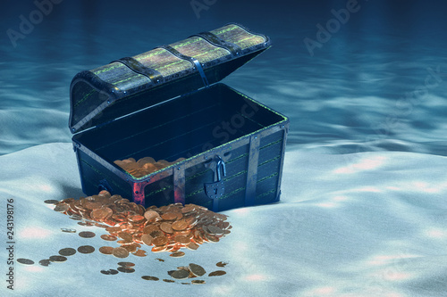 Open treasure chest with gold underwater, 3D rendering