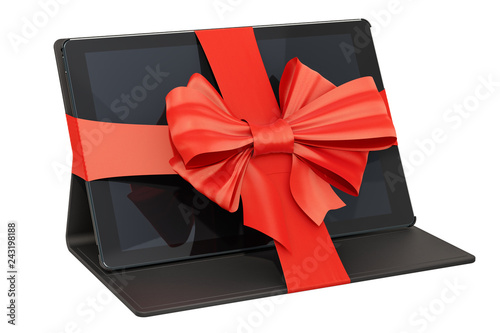 Tablet with bow and ribbon, gift concept. 3D rendering