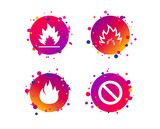 Fire flame icons. Prohibition stop sign symbol. Gradient circle buttons with icons. Random dots design. Vector - 243201193