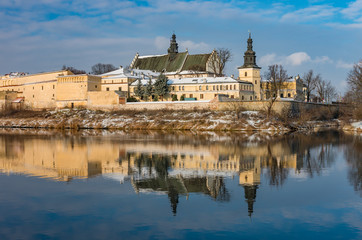 Krakow, Poland, winter landscape of Vistula river and Norbertine sisters monastery
