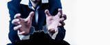 Portrait of handcuffed criminal man imprisoned. Arrest, gangster, pain concept. - 243203583