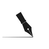 Pen drawing line icon. Vector. Isolated. - 243204732