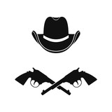 Cowboy  hat and two crossed revolvers icon. Vector. Isolated. - 243204749