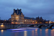 Paris, France - January 12, 2018: Louvre museum viewed from Orsay quay