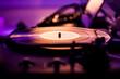 DJ Vinyl Turntable, purple lighting
