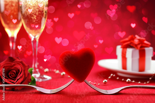 Romantic Dinner  - Forks And Heart With Defocused Gift And Champagne - Valentine's Day Background