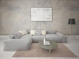 Mock up fashionable living room with a stylish corner sofa and an original hipster backdrop. - 243208768