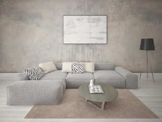 Mock up fashionable living room with a stylish corner sofa and an original hipster backdrop.