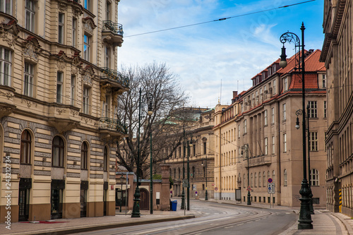 mata magnetyczna Beautiful architecture of the buildings and streets at Prague old town