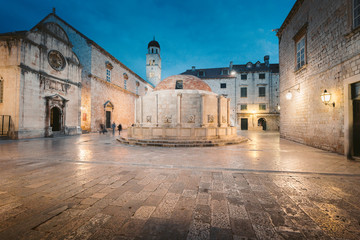 Historic town of Dubrovnik at twilight, Dalmatia, Croatia