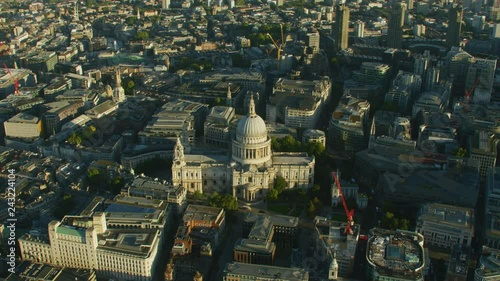 Aerial sunrise view St Pauls Cathedral London England