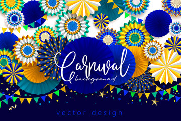 Bright carnaval background with paper fans © Maria