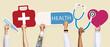 Leinwanddruck Bild - Hands holding healthcare icons clipart