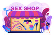 Couple shopping in adult shop with sexual entrtainment toys and accessories. Sex shop, online sex store, adult erotic products concept. Bright vibrant violet vector isolated illustration
