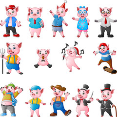 Cartoon pigs collection set © idesign2000