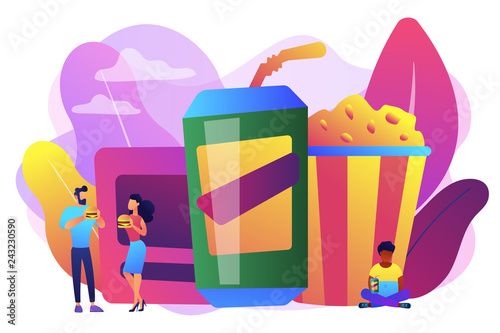 Business people eating hamburgers and drinking soft drinks near huge junk food. Snacking non-stop, junk food eating, reduce cholesterol use concept. Bright vibrant violet vector isolated illustration