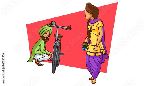 Vector cartoon illustration of punjabi sardar repairing his cycle while watching his girlfriend. Isolated on white background.