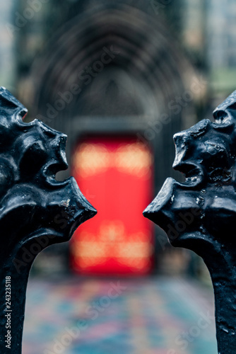 red portal of a church