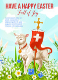 Easter Holiday lamb with cross greeting card - 243237305