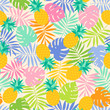 Colorful tropical leaf and pineapple seamless pattern background
