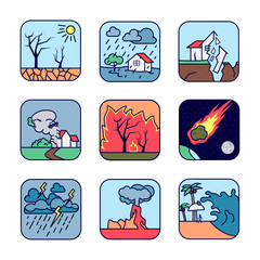 Natural cataclysm icons set. Drought, flood, earthquake, tornado whirlwind, forest fire, fiery meteorite, storm, volcanic eruption, tsunami wave. © artemp1