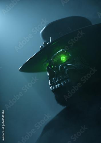 515b337a5ec Cowboy in an iron skull mask with green luminous eyes. Undead gunslinger  Cowboy. Halloween
