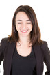 close eyes happy smiling woman in black business suit