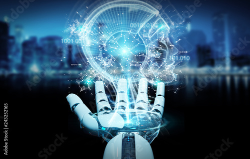 White cyborg hand creating artificial intelligence 3D rendering