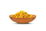 bee pollen and wooden bowl isolated on a white background - 243253532