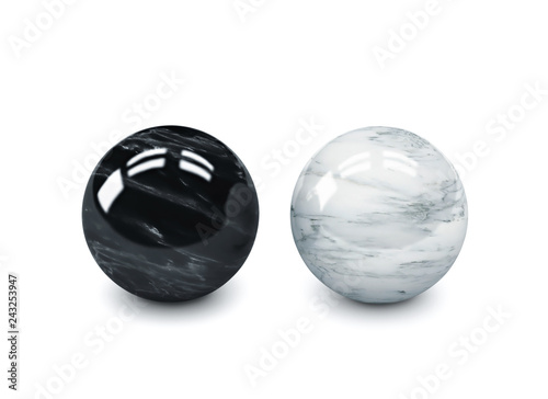 Black and white polished stone spheres, meditation balls isolated on white. Clipping path included