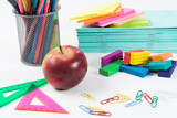 Idea of creativity and education with stationery stuff on white surface - 243255383