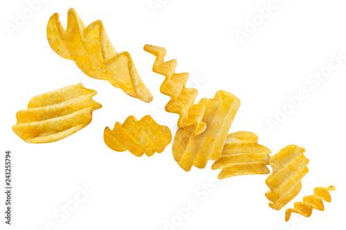 Leinwandbild Motiv Flying potato chips, isolated on white background