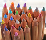 background of wooden pencils with the tip of many colors - 243255968