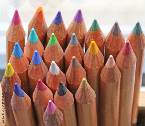 background of wooden pencils with the tip of many colors