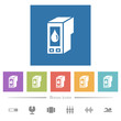 Ink cartridge flat white icons in square backgrounds