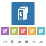 Ink cartridge flat white icons in square backgrounds - 243257137