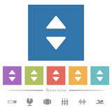 Vertical control arrows flat white icons in square backgrounds - 243257156